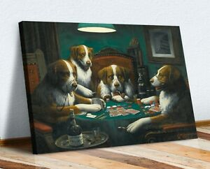 Dogs Playing Cards Poker Game CANVAS WALL ART PRINT PAINTING HOME PUB Coolidge