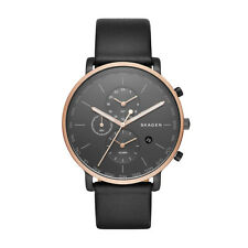 "Skagen SKW6300 ""HAGEN"" World-Time Alarm Black Leather Watch"