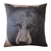 """Throw Pillow Cover linen black Mountain Bear printed cushion pillow case 18"""""""
