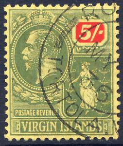 VIRGIN ISLANDS 1922-28 KGV DEFINITIVE SCRIPT CA 5/- VERY FINE CDS USED. SG 101.