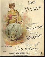""""""" Valse MIMOSA """"  von Sidney Jones , übergroße, alte Noten"""