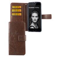 Huawei P10 Plus Hülle Case Handy Cover Schutz Tasche Flip Schutzhülle Etui Braun