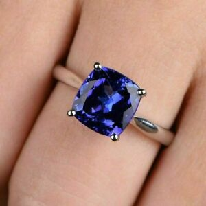 2Ct Cushion Cut Blue Sapphire Solitaire Engagement Ring In 14K White Gold Finish