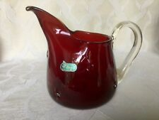 Bischoff Art Glass Ewer Pitcher Poinsettia Red / Amberina
