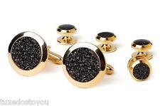 New Mens Black Diamond Dust Gold Wide Bezel Cufflinks Studs Gift Box Set