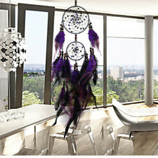 Car Handmade Purple Dream Catcher Circular With Feathers Wall Hanging Decoration