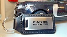 Land Range Rover Velar Sport Quality Etched Alloy Black Leather Text Keyring Fob