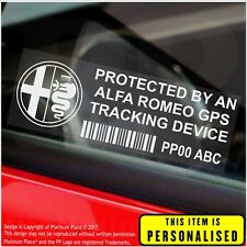 4 x Alfa Romeo PERSONALISED GPS Tracking Device-Security Stickers-Alarm-Tracker