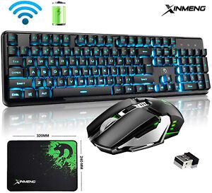 Rechargeable Wireless Gaming Keyboard Mouse Backlit 4800mAh for Laptop Pc Mac UK