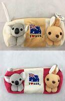 2X Australian Souvenir Koala Kangaroo 3D Soft Toy Pencil Case W/ String