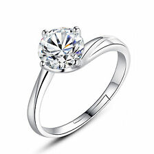 Ladies 925 Sterling Silver Crystal Solitaire Rings Wedding Gifts Adjustable Open