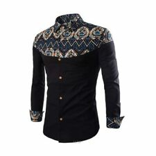 Formal luxury casual stylish men's floral tops long sleeve slim fit dress shirt