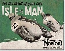 Norton Isle Of Man Motorrad Grand Prix Race Rennen Blechschild Biker Schild *077