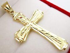 Mens 10k Yellow Gold Cross Pendant Diamond Cut Gold Crucifix Charm 2.1 inch