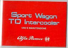 ALFA ROMEO 33 SPORT WAGON 1.8 TD INTERCOOLER manuale uso manutenzione originale