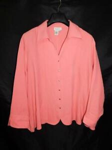 Coldwater Creek 3X Pink Silk Blouse Long Sleeve V Neck Shirt Button Front 3XL
