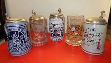 5 Bierkrüge  4 St. mit Zinndeckel