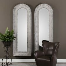 """Two Old World 89"""" Embossed Metal Wall Mirror Forged Iron Sloped Vintage Frame"""