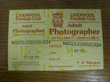 27/01/1998 Ticket: Football League Cup Semi-Final, Liverpool v Middlesbrough [Of