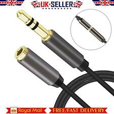 1m 3.5mm Male to Female Jack Extension Cable Lead Stereo Plug AUX Headphone Gold