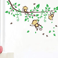 Cartoon Forest Monkeys Tree Branches Vinyl Wall Decal Wall Sticker Removable