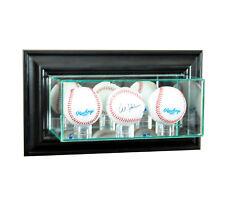 WALL MOUNT GLASS TRIPLE BASEBALL DISPLAY CASE UV PROTECTION BLACK WOOD MIRROR