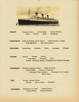 RMS Queen Mary Cunard Line Menu Reprint On Original Period 1930s Paper