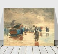 """WINSLOW HOMER - On The Sands - CANVAS ART PRINT POSTER - Sailing Boat 24x16"""""""