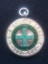 More details for rare 1936 silver & enamel medal fob hospital sports association sports league