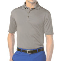 New Grand Slam Mens Solid Gray Ottoman Ribbed-Textured Performance Polo MSRP $45