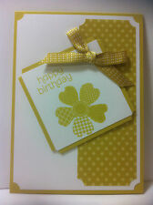 Handmade female birthday card. Yellow/starfruit. Design #4