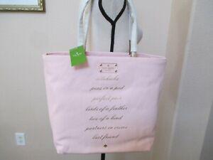 NWT KATE SPADE WEDDING BELLES BON SHOPPER SIDEKICKS Pink Canvas Tote Handbag