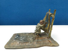 More details for cute vintage cold painted bronze, boy on carpet beating rug