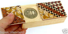 Japanese Magic Coin Wooden Puzzle Trick Box Hand Craft Hakone Yosegi Japan
