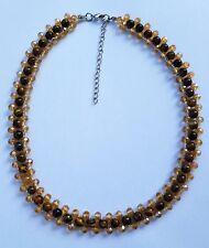 Damen Halskette Edelstein Tigerauge Braun Breite 1,5 cm Nummer 577575 NEU