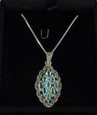 3.75ct Marcasite & Marquise Shape Blue Cubic Zirconia Sterling Silver Necklace