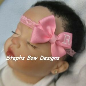 Pink Monogram Dainty Hair Bow with Headband Personalized FITS Preemie to Toddler