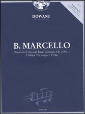 Benedetto Marcello Sonata for Cello Op 2 No 1 in F Major Sheet Music Book/CD