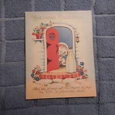 """Vintage Birthday Card, Unmarked - Kitten at Door, Milk Bottle """"Cream of Joys"""""""