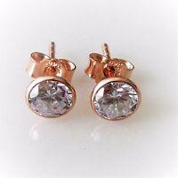 5mm Ohrstecker 925 Sterling Silber Rose Gold Vergoldet Zirkonia Unisex Ohrringe