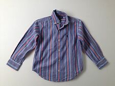 Boy Ralph Lauren Polo Blue Red Striped Dress Button Down L/S Shirt Size 4