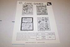 Vintage WARREN PAPER PRODUCTS - CARD GAMES - HOT DOG etc ad sheet #0221