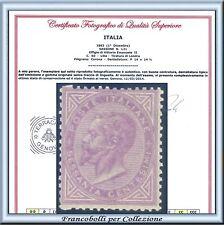 1863 Italia Regno DLR c. 60 lilla Londra n. L21 Certificato Nuovo Integro **
