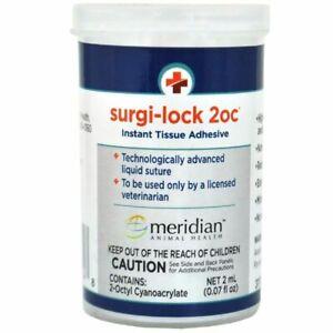 Meridian Surgi-Lock Tissue Adhesive Pet Livestock Veterinary Wound Care 2cc