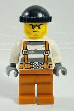 NEW Lego City Police BANDIT CROOK Minifigure CTY777 Beard Stubble Scowl Overalls