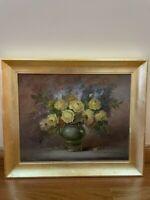 Vintage Ornate Gold Gilt Wood Framed Signed Painting on Canvas Roses 33*19 inch