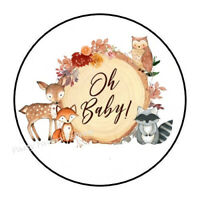 30 Woodland Animals Baby Shower Bubble Labels Stickers Birthday Party Forest