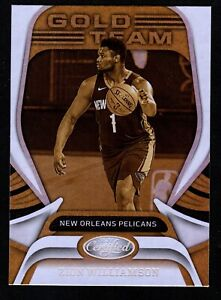 Zion Williamson 2020-21 Panini Certified #17 Gold Team Base Insert Pelicans