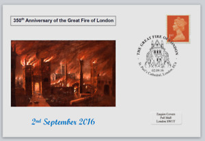 GB 2016 350th anniversary great fire of london disasters postal card #4