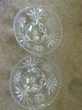 2 Vintage  Glass 3 Footed round Candy Decorative Dish Bowls Set
